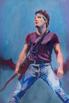 Bruce Springsteen portrait painting by Colleen Caron