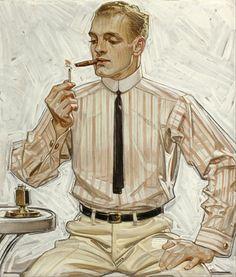 Illustration:Advertising, JOSEPH CHRISTIAN LEYENDECKER (American, 1874-1951). Man withNarrow Tie, Cluett Shirts Arrow Collar advertisement, ...