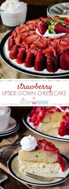A shortcake twist on a classic upside down cake, stacked on top of creamy vanilla bean cheesecake, then studded with fresh Florida strawberries! Fresh Strawberry Recipes, Strawberry Desserts, Summer Desserts, Fruit Recipes, Cheesecake Recipes, Easy Desserts, Delicious Desserts, Yummy Food, Dessert Recipes