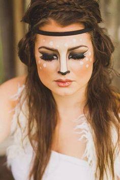 Halloween Maquillaje Halloween Sexy, Cool Halloween Makeup, Maquillage Halloween, Halloween Looks, Halloween Make Up, Halloween Costumes, Holidays Halloween, Deer Makeup, Scary Makeup