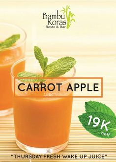 Healthy and rich flavour combination from apple and carrot inside glass of juice with vitamin A, C , and antioxidant that contain on them, will cover up your body from any illness in this rainy season.   www.grandixora.com  #grandixora #kuta #resort #bali #juicy #thursday #fresh #carrot #apple