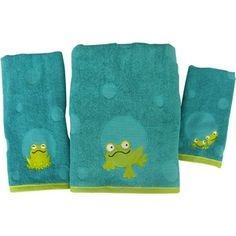 Peeking Frogs 3pc Towel Set...this is what we have done the bathroom in here at the farm :) Kids love the frogs peeking at them.