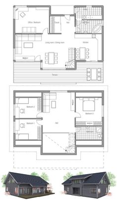 Small house plan with raised ceiling in the living room. Classical lines and shapes, affordable building budget. Floor Plans from ConceptHome.com