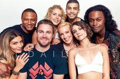 cast pose for a portrait at Scandal Quotes, Glee Quotes, Scandal Abc, Arrow Cast, Arrow Tv, Stephen Amell, Rick Gonzalez, Superhero Tv Series, Black Film Festival