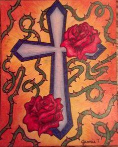 cross rose drawing