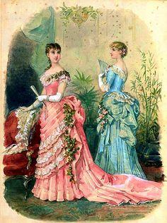 Victorian Fashion Plates - jailagracedunearchiduchesse: Fashions of 1883 Victorian Gown, Victorian Costume, Victorian Fashion, Vintage Fashion, Victorian Clothing Women, Victorian Ladies, French Fashion, Vintage Gowns, Mode Vintage