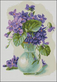 Violets in a jug-cross-stitch pattern