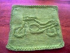 Hand #Knit Grass Green #Motorcycle #Dishcloth or #Washcloth #Handmade by #hollyknittercreations #ArtFire