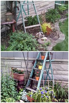 Before & after - add ladder, flowers & watch it grow