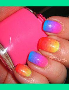 Neon Franken Gradient | Summer A.'s (wonderland-nails) Photo | Beautylish