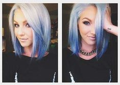 Short Hair Blue Ombre Color - Would like to try this. I've been doing a lot of purple and think it's time for some blue.