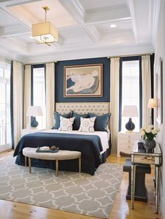 Navy Blue Bedroom with Coffered Ceilings