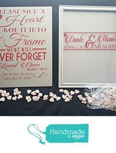 Wedding Guest book alternative drop in hearts frame and wooden sign Fully customized from 888InfiniteDesigns https://www.amazon.com/dp/B015G3U39I/ref=hnd_sw_r_pi_awdo_C1GKyb9511FEV #handmadeatamazon