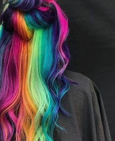 Rainbow Hair Color @itsnicholehair Cute Hair Colors, Pretty Hair Color, Beautiful Hair Color, Hair Color Purple, Hair Dye Colors, Green Hair, Bright Hair Colors, Colorful Hair, Exotic Hair Color