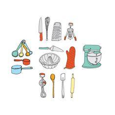 Temporary Tattoos: Kitchen Utensils Set | Baker and Maker
