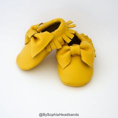 $24 Baby Moccasins Baby Yellow Bow Moccasins Baby by BySophiaBaby