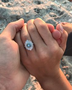 and Luke's Proposal on The Knot's This unique engagement ring is giving us serious Gatsby vibes!This unique engagement ring is giving us serious Gatsby vibes! Best Engagement Rings, Beautiful Engagement Rings, Solitaire Engagement, Vintage Engagement Rings, Beautiful Rings, Colored Engagement Rings, Beautiful Dream, Wedding Rings Vintage, Wedding Jewelry