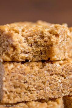 Peanut Butter Honey Rice Krispie Treats - Sprinkle Some Sugar