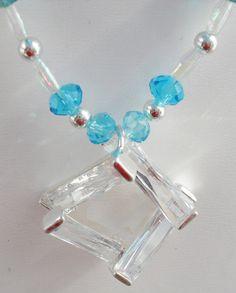 OOAK Prom Weddings Bridesmaid crystal teal silver by ElmsRealm, $40.00