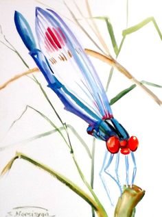 Dragonfly original watercolor painting 12 X 9 in by ORIGINALONLY, $24.00