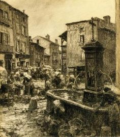 Fountain at Châtelguyon - Léon Augustin Lhermitte - 	1906 - Dimensions:	Height: 45.6 cm (17.95 in.), Width: 38.1 cm (15 in.) Medium:	Drawing - charcoal  on paper