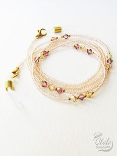 Swarovski Eyeglasses Chain Eyeglass Holder by AlulaCreations Bead Jewellery, Beaded Jewelry, Beaded Bracelets, Waist Jewelry, Homemade Bracelets, Eyeglass Holder, Diy Necklace, Swarovski, Eyeglasses