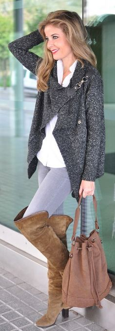 Grey Knit Buckle Detail Wrap Cardigan by Te Cuento Mis Trucos.