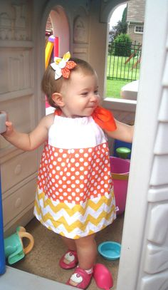 Fall candy corn Halloween Chevron Boutique by PersonalizedforyouKY, $35.00