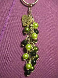 St. Patrick Day Green Glass Bead Purse Charm / Key Chain / Car Mirror Dangle #FoxyFunDangles