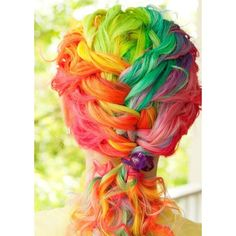 Rainbow hair! ❤ liked on Polyvore