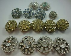 Lot-15-Vtg-Rhinestone-Button-Hole-Buttons
