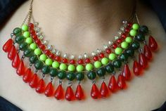 Multi Strand Multi Layer Statement Necklace / Beaded by uDazzle