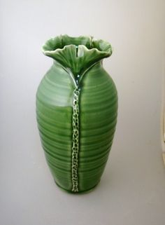 3 Ginkgo Leaf Celadon Green Art Pottery Vase by waukeshapottery, $49.00