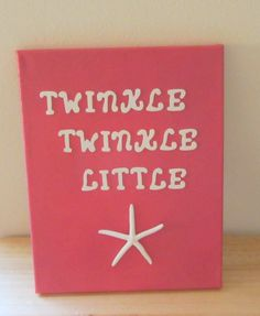Beach Decor Nursery Art - Pink - Starfish Canvas - Twinkle Twinkle Little Star