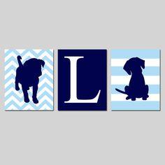 Puppy Dog Nursery Decor Trio  Chevron Puppy Initial by Tessyla