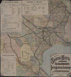 Map of the South West - 1881. Publisher -The Southwestern Immigration Company.The map displays all major railroads in Texas, and includes data about the land area, crops, and education of Texas, Arkansas, and Louisiana. Special Collections, University of Houston (Public Domain).