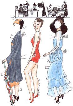 1920's Paris Fashions ~ Lauren Welker's Original Paper Dolls