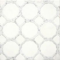 Coming Soon!!!    Delicate Gothic Design The Mystique collection, from Country Floors, draws upon history and tradition to project richness, opulence, and otherworldly elegance. The tiles in this collection, are reminiscent of a gothic Mediterranean designs. The Mystique Collection tiles ranges in shades of white, mute grey and silver, featuring different geometric patterns. The tiles are available in the standard eight by eight (8 x 8) size. Tile feature: Rita