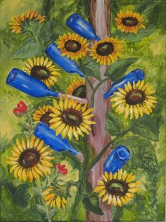 """Sunflowers and Blue Bottle Tree"" painting by PaintingsbyKateLadd on Etsy."