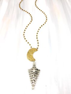 """Fashionably Late"" - 1960's beautiful rhinestone drop hung from an antique brass moon on geometric hematite beaded chain"