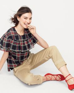 The J.Crew women's Edie Top. Everyone's favorite ruffles from fall, now in tartan. Because holiday.
