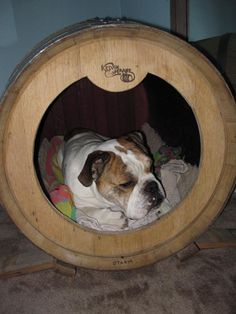 Dog house from wine barrel. Too cute