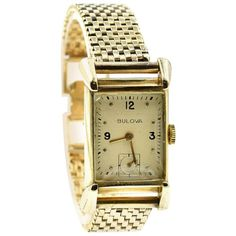 View this item and discover similar for sale at - Movement: manual wind 21 jewels Function: hours, minutes, seconds Case: rectangular x yellow gold case, plastic crystal, pull/push winding Rolex Watches, Watches For Men, Wrist Watches, Mens Designer Watches, Bulova, Vintage Watches, Horns, Jewelry Watches, Jewels