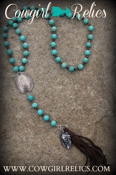 Teton Rustic Luxe Bohemian Western Necklace With Leather Fringe Tassel-BROWN  ON SALE $68.00 + an extra 25% off with coupon code THANKFUL  #cybermonday #turquoise #tribal #handmade #westernjewelry #necklace #madeintheusa #rosary #boho #gypsy