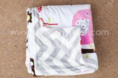 Mod Zoo Love and Chevron Minky Baby Blanket READY TO by HootieHu, $45.00