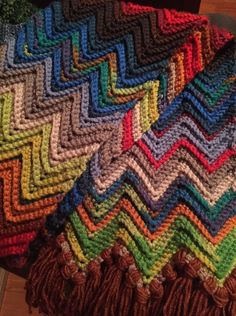 Crochet Chevron scarf, 15 different colors, in Jo Ann's Big Twist Premium yarn, love the retro feel of this scarf, and I really like the Big Twist yarn.