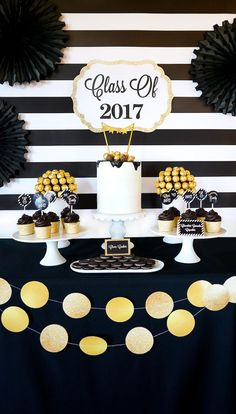 """May 2019 - Plan a graduation party quickly with these ideas and printables in this """"Be Bold"""" Black & Gold Graduation Party at Kara's Party Ideas! Graduation Open Houses, Graduation Party Themes, College Graduation Parties, Graduation Celebration, Graduation Decorations, Grad Parties, Graduation Ideas, Graduation Gifts, Graduation Cupcakes"""