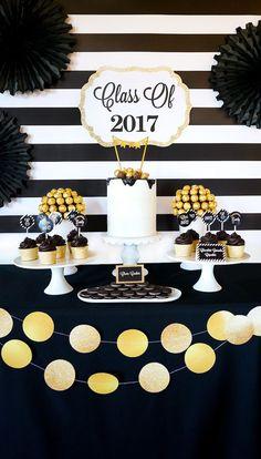 """Be Bold"" Black & Gold Graduation Party on Kara's Party Ideas   KarasPartyIdeas.com (5)"
