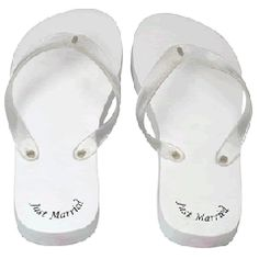 Just Married Flip Flop Ladies White Size 3/4 ONLY