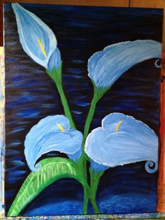 A personal favorite from my Etsy shop https://www.etsy.com/listing/234836494/blue-calla-lilies-black-background-blue